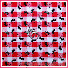 BonEful Fabric FQ Cotton Quilt VTG Red White Black ANT Check Gingham Doll House