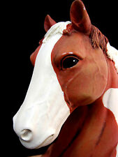 "Bookends Pinto Paint Indian Horse Pair Bust  Resin 6.5"" Tall"