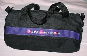 "12"" Black Canvas Duffel Bag Stamp Scrap 'n Roll Scrapbooking Tote 2 Handles"