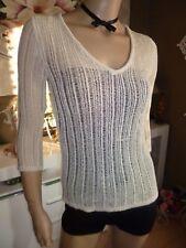H&M Damen Fein lochmuster stricken Pullover 3/4 Arm aus Acryl in Natur Gr. M Neu