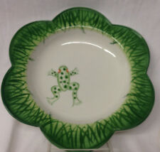 """MARIPOSA ITALY 2000 JILLY WALSH LEAP FROG BOWL 9 5/8"""" GREEN GRASS ON WHITE"""