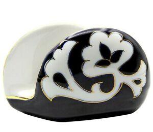 Turan Porcelain PAKHTA Gilded NAPKIN HOLDER, Handmade in Uzbekistan, Blue