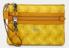 New Coach F79944 Gallery Pouch with Horse and Carriage Print Yellow multi