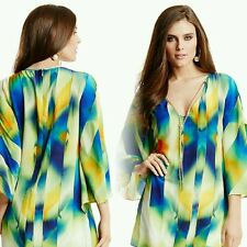 NWT Guess by Marciano 100% silk  multi color tunic top size S