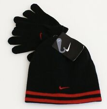 Nike Reversible Black & Red Knit Beanie & Stretch Gloves Youth Boy's 8-20 NWT