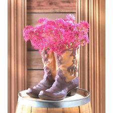 Pair Boot Planter Western Garden Decor Plant Stand Centerpiece Table Decor