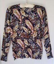 RED Brand Sweater Top Paisley Blue Purple Yellow Multi Rayon Blend Size Medium