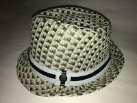 Goorin Bros Woven Paper Cotton Fedora Hat Mint Green Blue Sz Medium EUC GB13