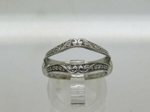 14k White Gold Round Diamond Accent Solitaire Ring Enhancer Jacket Double Band