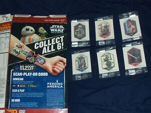 Star Wars General Mills Tattoo - Set Of All 6 = Rey, Kylo Ren, R2-D2, BB-8 + 2
