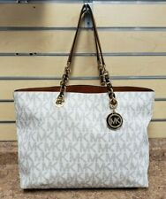 *Michael Kors Signature Cynthia Large Vanilla Tote Pre-owned Free Shipping