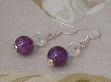 Elegant Deep Purple Crackle Glass Crystal Beads Dangle Pierced Earrings Handmade