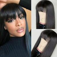 100% Real Remy Brazilian Human Hair Wig Short Bob Straight Full Wig With Bangs D