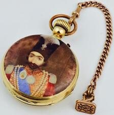 MUSEUM G.A.Huguenin 18k gold&enamel watch&fob for Persian king Naser al-Din Shah