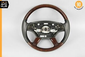 07-10 Mercedes W221 S550 CL550 Driver Steering Wheel w/ Paddle Shifters Wood OEM