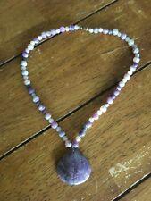 Lepidolite Purple Stone Agate Beads Necklace Handmade