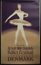 1953 Royal Danish Ballet Festival Denmark Henry Thelander Vintage Travel Poster