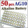 50 pcs AG10 LR54 SR54 SR1130W 189 L1130 Alkaline Button Coin Cells Battery
