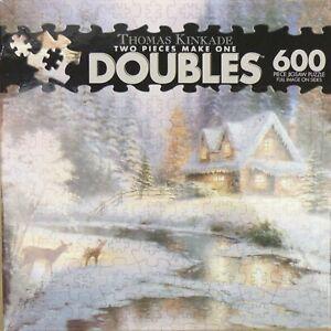 "NEW Thomas Kinkade Doubles: Deer Creek Cottage 600 Piece Puzzle Ceaco 20"" x 27"""