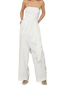 NWT $338 BCBG MAXAZRIA Draped Ruffle Jumpsuit Off White 0