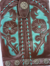 The Old Gringo Cowboy Boot Purse Turquoise Leather Fringe Crossbody $369 Western