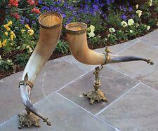 Antique French PAIR Trophy Horns Hunt Epergne Renaissance Statue Birds LARGE