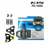 """Shimano 105 PD-5800 Carbon SPD-SL Road Bicycle Bike Pedals Clipless 9/16"""" W/Clea"""