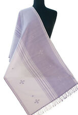 """Cotton Shawl in Shades of Purple Hand Woven Lilac Stripe. 83"""" x 23"""" Light Scarf"""
