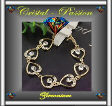 Bracelet femme  zirconium  7 Coeurs  coeur doré or fin  D3