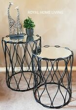 SIDE COFFEE TABLE SET OF 2 ROUND MIRRORED TOP BLACK METAL FRAME HOME DECOR