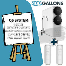 Q6 4-Stage RO 400GPD Tankless Water Filter Reverse Osmosis System + Extra Filter