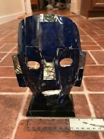 Vintage Mexico Mayan Folk Death Mask Abalone & Blue Stone Art Figure FREE SHIP