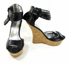 "Shiekh Shoes Bowtie D'Orsay Platform 5"" Wedge  Heels Black/Cork Size 8.5"