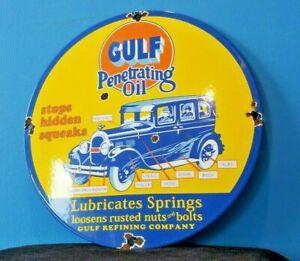 VINTAGE GULF GASOLINE PORCELAIN PENETRATING OIL SERVICE STATION PUMP PLATE SIGN