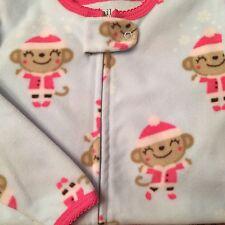 Nwt Carters Christmas Girls Pajamas Pjs Gripper Footed Microfleece Monkeys 24 M