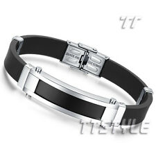 TT Two-Tone Black Stainless Steel ID Bracelet Engravable (BBR214) NEW