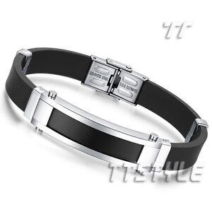 TT Two-Tone Black Stainless Steel ID Bracelet Engravable (BBR214) NEW