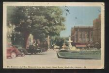 Postcard BROCKVILLE Ontario/CANADA  Town Square Fountain & Stores 1930's
