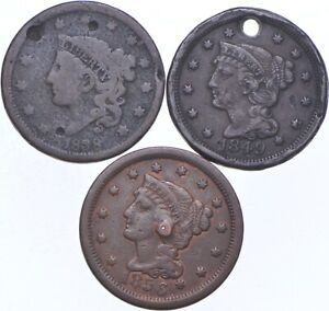 HOLY Lot - Hole - 1858 1849 1856 - Large Cent Penny Collection - Holed *623