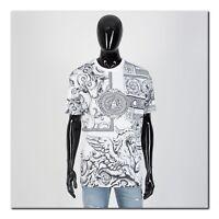 VERSACE 725$ Authentic New SS19 Black & White Barocco Print Tshirt