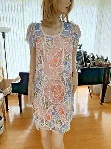 Lim's Vintage All Hand Crochet French Sleeve Knee Length Dress, Multi-Color
