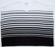 White House Black Market Black White Striped Poncho Sweater Sz XXS/XS NWT