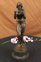 Art Deco/Nouveau Hot Cast Gorgeous Maiden Drinking Bronze Sculpture Figurine NR