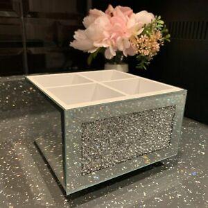 Rotating jewel mirror diamante Beauty Box Swivel Remote Makeup Organiser Holder