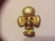 "Vintage Gold tone 1"" Rhinestone Poodle pup Dog Head Pin Brooch - Signed © Pell"