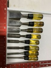 Lot Of 7 Stanley No. 60 Chisels 16-608 woodworking carving Tools Set