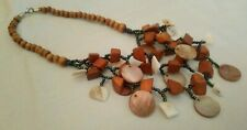 Mother Of pearl Shell Disc Bead Necklace Wooden Bohemian Hippie