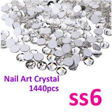 1440p SS6 2mm Crystal Silver Clear Rhinestone Foiled Nail Art Decoration DIY