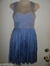 bebe 90210 XS Dress Blue Ruffle Babydoll Empire Waist Corset Brunch Party Chic