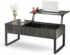 WLIVE Industrial Lift Top Coffee Table, 3-Tier Cocktail Table, Metal Mesh Cabine